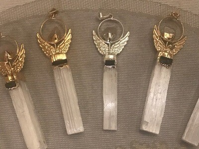 Selenite Angel Pendants with Gemstone Accent