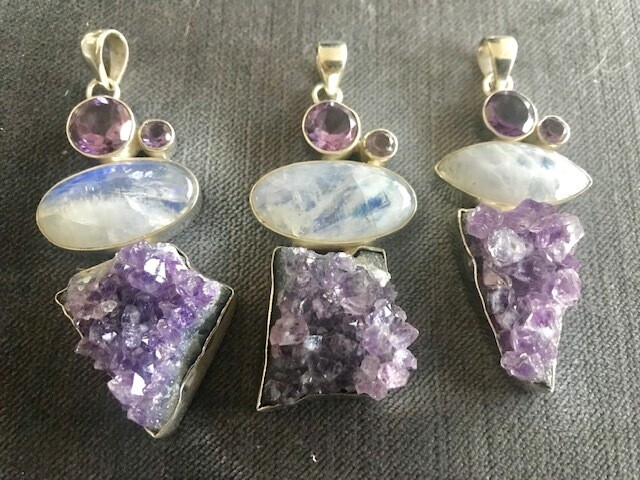 Amethyst Pendants with Moonstone