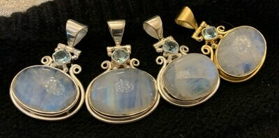 Moonstone w/ Blue Topaz Pendants