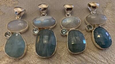 Genuine Aquamarine w/Moonstone & Blue Topaz Pendant