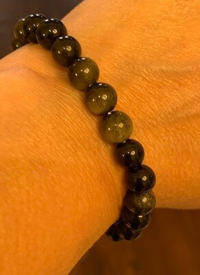 Black Golden Sheen Obsidian Bracelet
