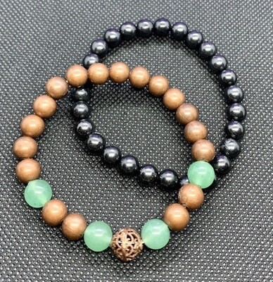 Shungite Harmonizer Bracelet Set with Aventurine