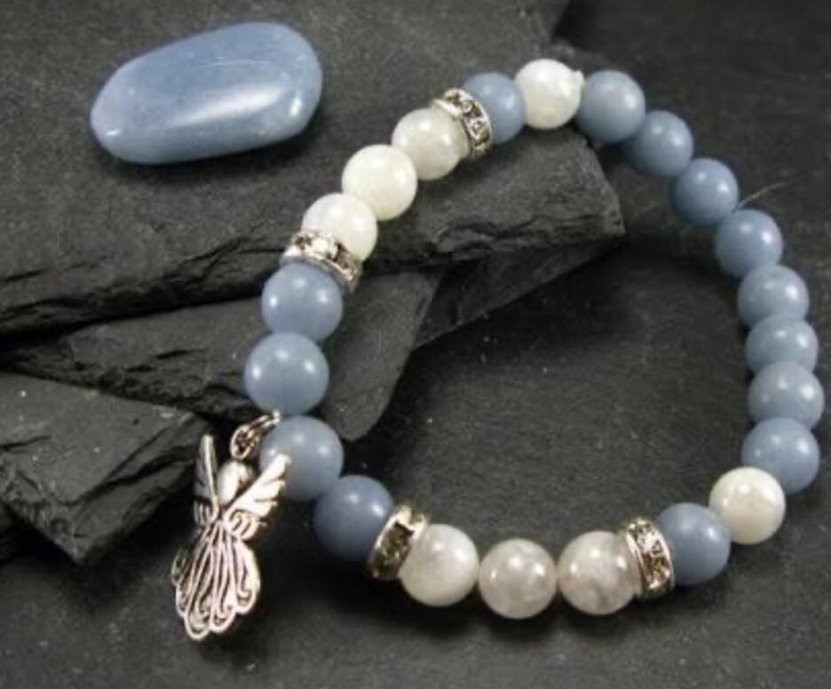 Angelite with Moonstone Bracelet