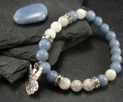 Angelite with Moonstone Bracelet with Free Shipping!