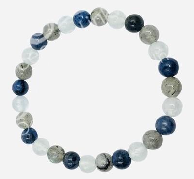 Labradorite w/Dumortierite & Aquamarine Bracelet
