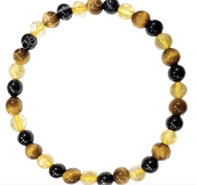 Tiger Eye w/Black Tourmaline & Citrine 6mm Bracelet