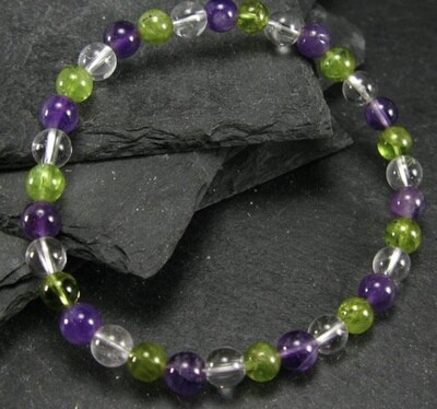 Amethyst w/Peridot & Crystal 6mm Bracelet with free shipping!