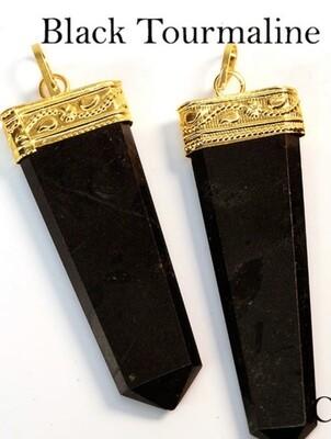 Black Tourmaline Flat Pendant
