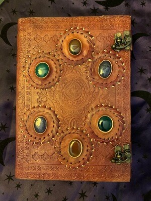 Leather Gemstone Journal with Brass Latches
