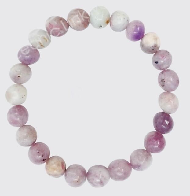 Ruby & White Jade 8mm Bead Bracelet.