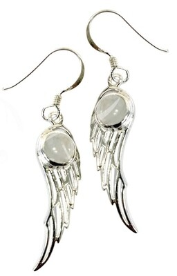 Sterling Silver Angel Wings w/Rainbow Moonstone - Set Available