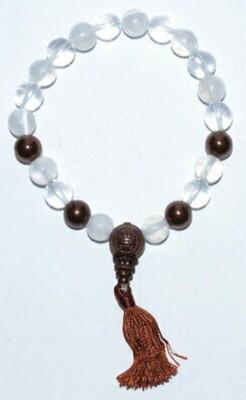 Selenite w/Copper & Crystal 8mm Bead Bracelet