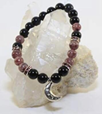 Rainbow Obsidian w/Strawberry Quartz & Moon Charm Bracelet.