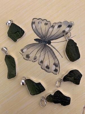 Raw Moldavite Pendants - Set in Silver