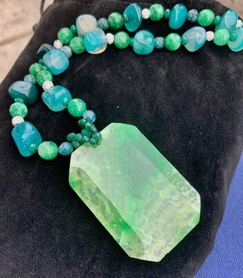 Green & Blue Agate Necklace.