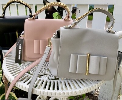 Gray Chained Handle Purse/Cross-body