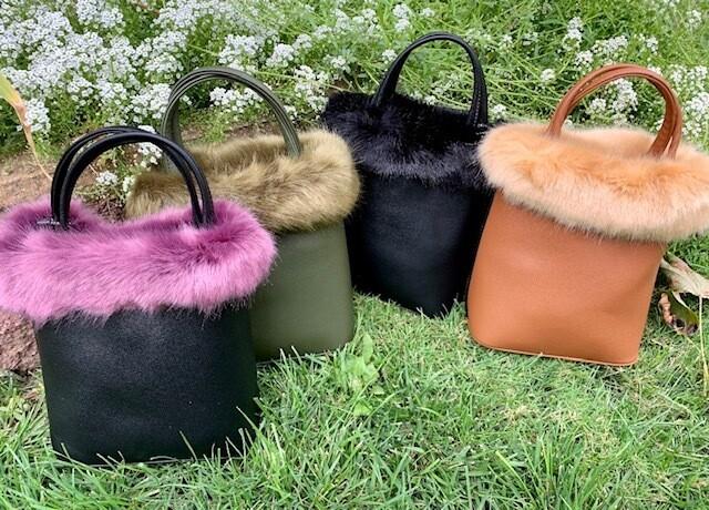 Black w/Purple Faux Fur Fun Bag w/Shoulder Strap