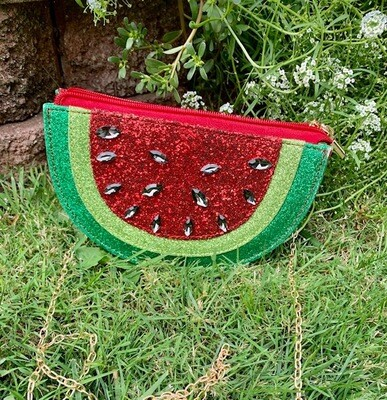 Watermelon Slice Purse - Rhinestone Seeds!