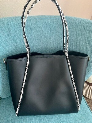 Black Tote w/Exotic Print Trim