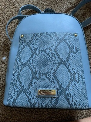 London Fog Blue Backpack w/Exotic Trim