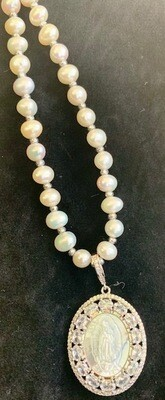 Fresh Water Pearl Necklace of the Blessed Mother