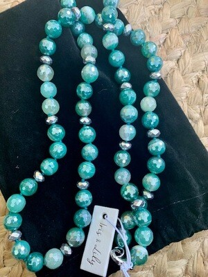 Genuine Agate Gemstone - Long Style Necklace, Hand Knotted