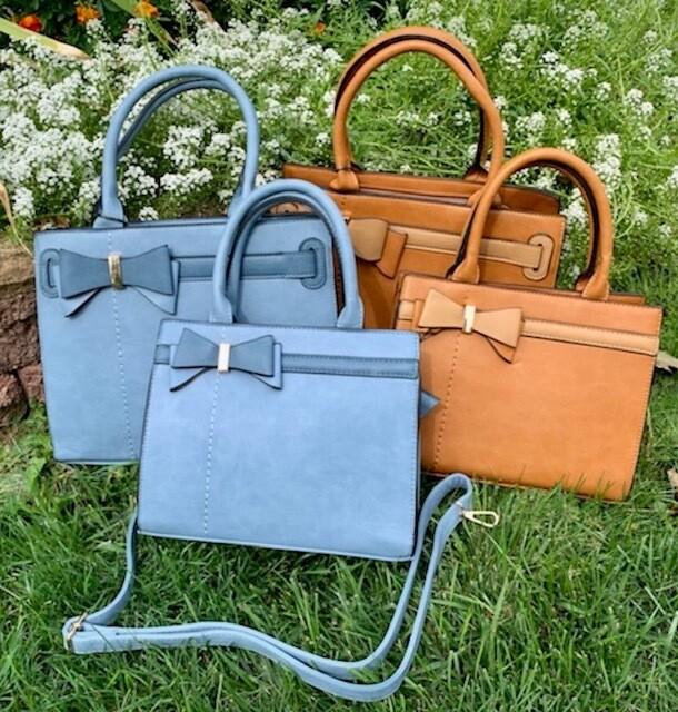 Petite French Bow Bag w/Shoulder Strap - Bella Brown Color