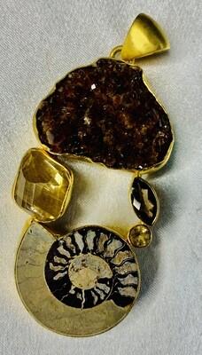 Citrine & Fossil Pendant