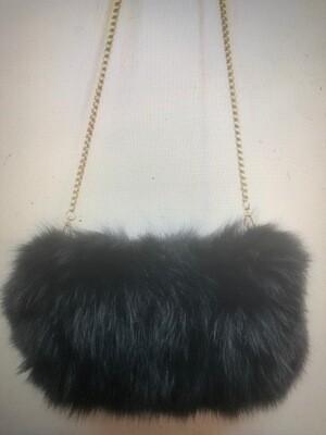 Black Fox Fur Purse w/Long Crossbody Chain