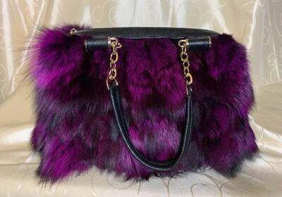 Genuine Fox Fur Purse - Purple