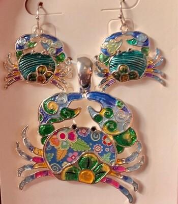 Crab Pendant & Earring Set.
