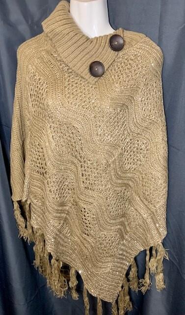 High Fashion Buttoned Cowl Ponchos