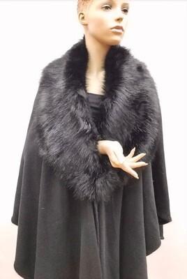 Elegant Faux Fur Cape - Black