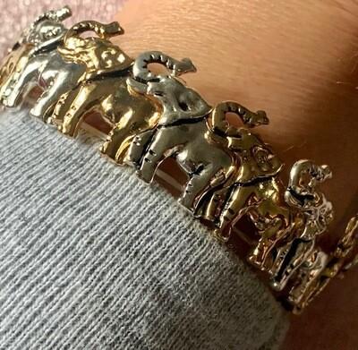 Gold & Silver-tone Elephant Bracelets.