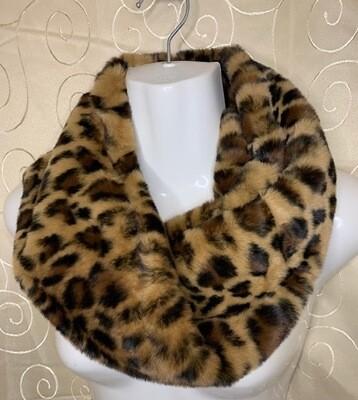 Leopard Print Infinity Scarf - Faux Fur