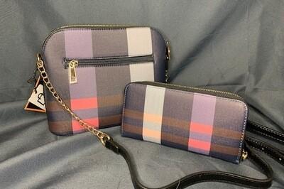 Plaid Crossbody & Matching Wallet