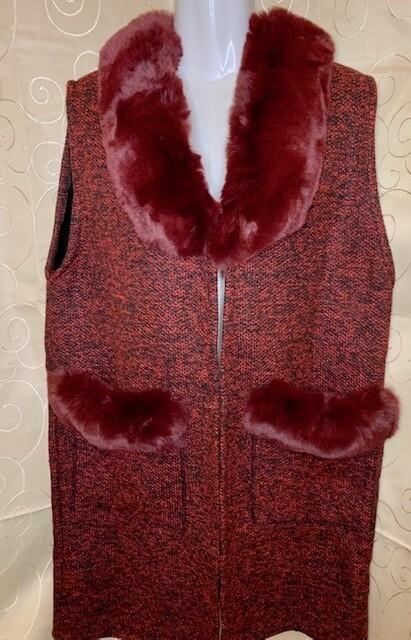 Sweater Long Vest w/Faux Fur Trim