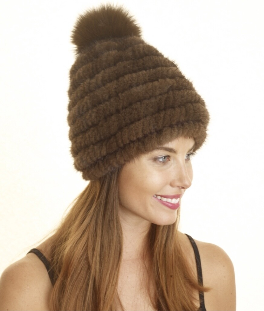 Premium Coco Brown 100% Rex Rabbit Fur Hat