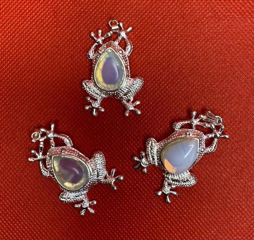 Set of 3 Opalite Lucky Frog Pendants