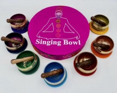 Chakra Singing Bowls w/Pink Case