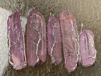 Pink Aura Quartz Tree of Life Wire Wrapped Pendants