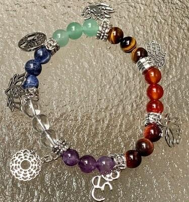Chakra Bead Bracelet w/Spiritual Charms