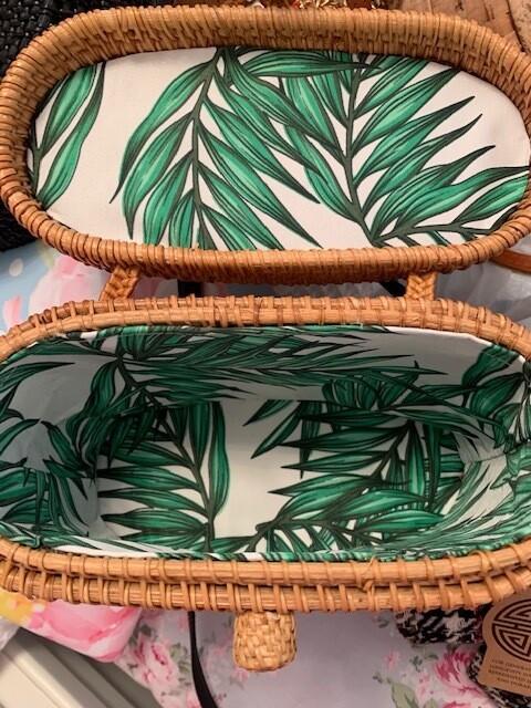 Topical Leaf Wicker Basket Purses, Longevity and Good Health Symbol