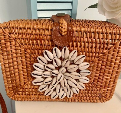 Wicker Purse w/Genuine Flower Shell represents good fortune, and resurrection.