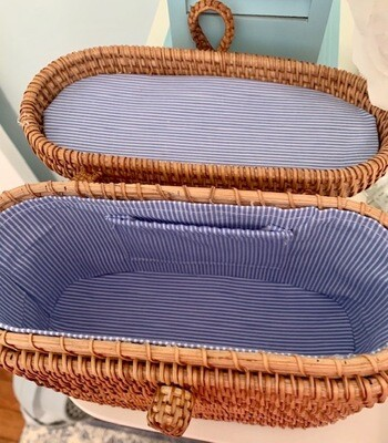 Nantucket Blue Striped Wicker Purse Longevity and Health Symbol