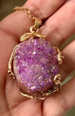 Lavender Druzy Necklace