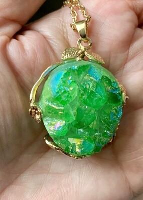 Green Aura Druzy Necklace