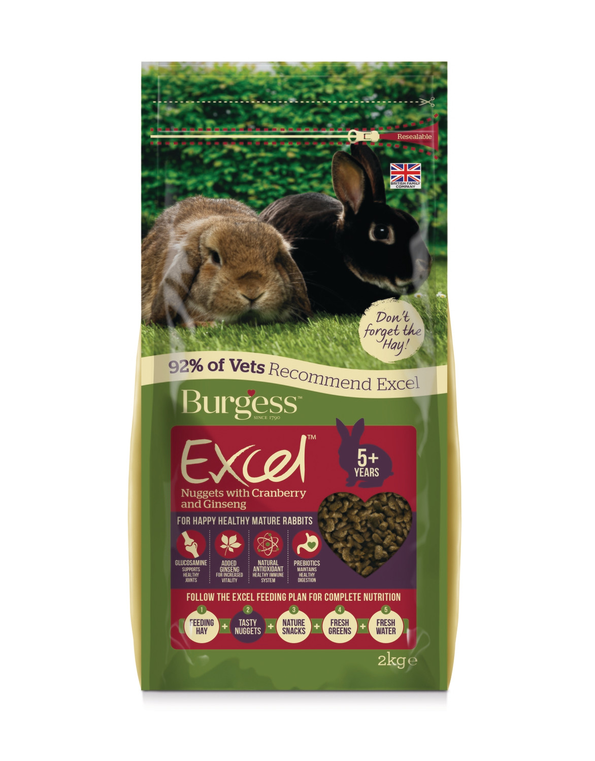 Burgess Excel Rabbit Pellets with Cranberry and Gingseng for Mature Rabbits 2kg