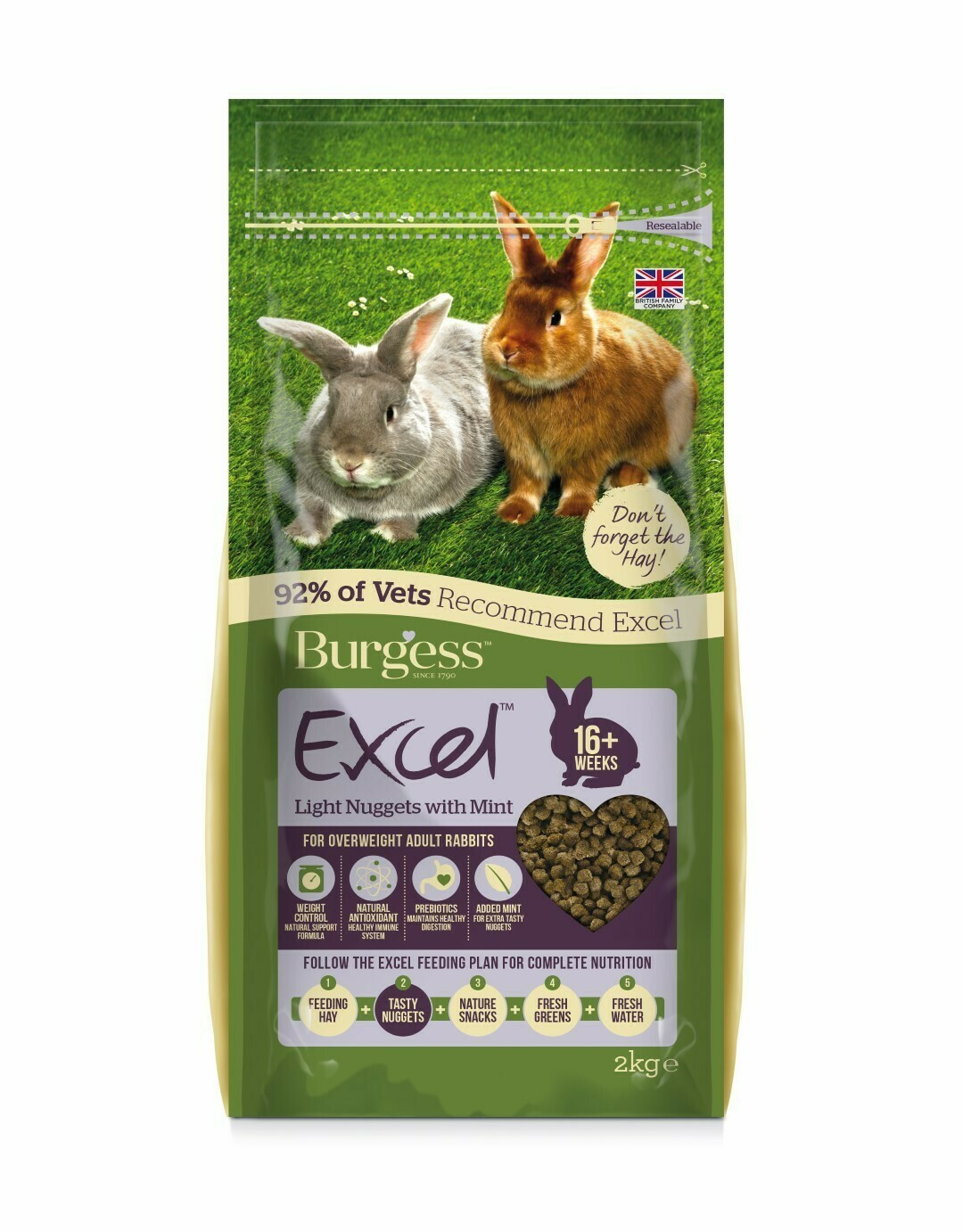Burgess Excel Light Rabbit Pellets for Overweight Rabbits 2kg