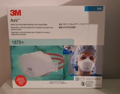3M Aura 1870+ N95 Respirator & Surgical Mask 20pcs